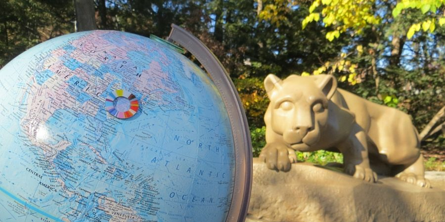 A globe at the Nittany Lion